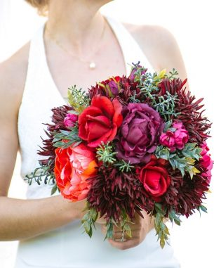 Burgundy and magenta bridal bouquet from the Vienna Collection