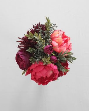 Jewel toned faux rose and peony centerpiece