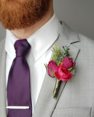 Rosebud cluster boutonniere from the Vienna Collection
