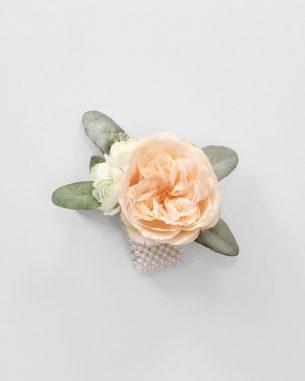 Blush juliet rose wrist corsage with lamb's ear