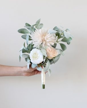 Blush and white juliet rose aisle marker