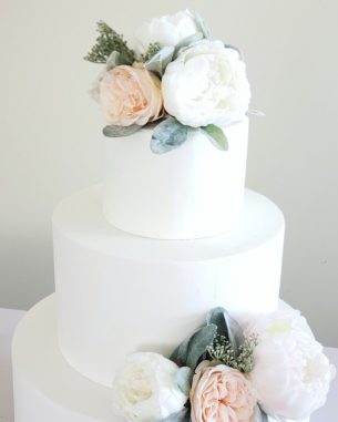 Blush and white peony faux cake topper