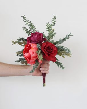 Jewel tone rose and peony aisle marker
