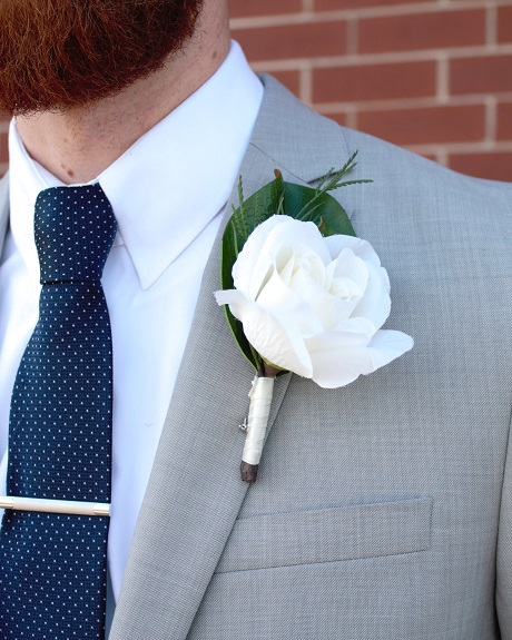 Large ivory rose boutonniere from the Savannah Collection