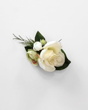 Artificial ivory rose wrist corsage