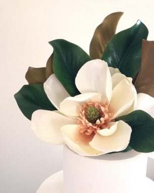 Faux magnolia cake topper and side accent