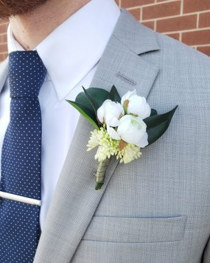 Mini white rose cluster boutonniere in artificial flowers