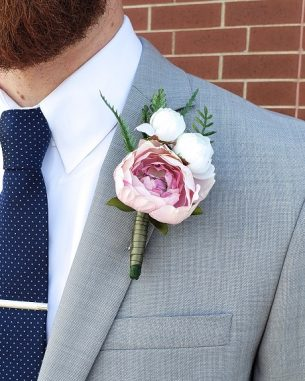 Blush rose faux flower boutonniere from the Brooklyn Collection