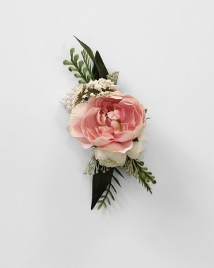 Blush rose wrist corsage from the Brooklyn Collection