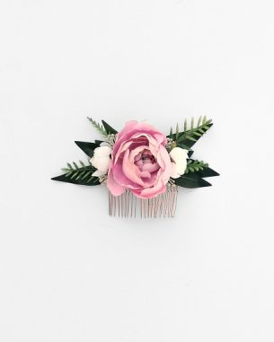 Artificial floral hair comb with blush and white roses