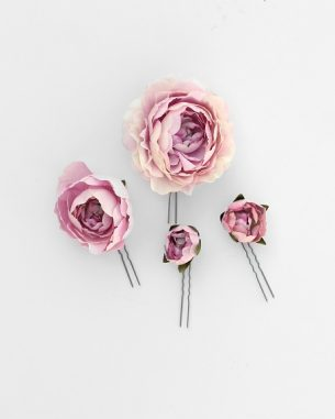 Artificial blush rose hair pins from the Brooklyn Collection