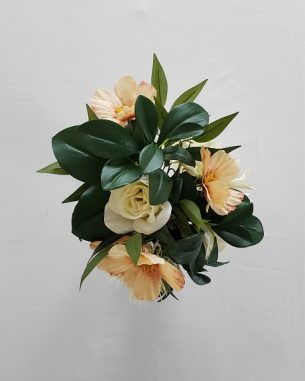 Artificial dahlia bouquet with faux anemones and dark greenery