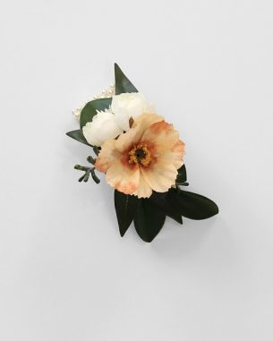 Peach anemone corsage from the Sydney Collection