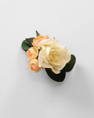 Ivory and orange rose corsage from the Sydney Collection