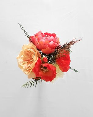 Orange poppy and pink peony centerpiece from the Santiago Collection
