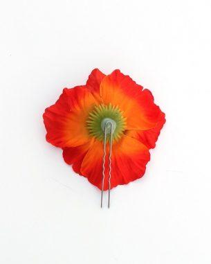 Orange faux poppy hair pins