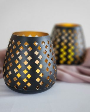 Black and gold eyelet votives for rent