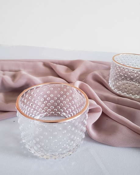 Textured glass votives with gold details