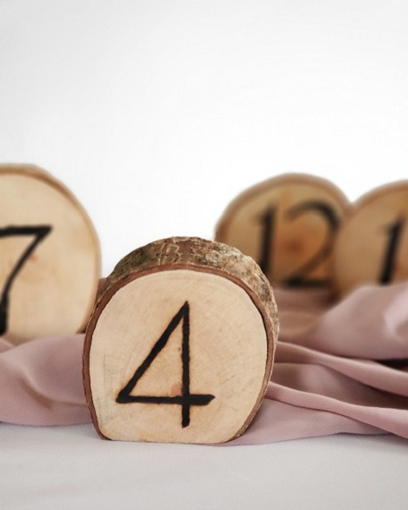 Wood slice table numbers