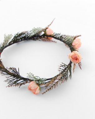 Faux juniper and rose hair crown from the Santiago Collection