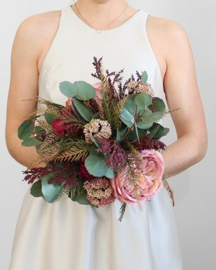 Artificial silver dollar eucalyptus bouquet with magenta roses and pink peonies