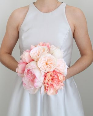 Faux peonies in blush and pink