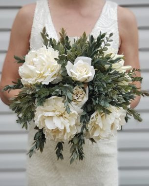 Ivory peony and ruscus bouquet with eucalyptus accents