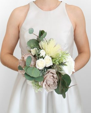 Artificial blush rose and mauve peony bouquet with silver dollar eucalyptus and baby's breath