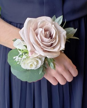 Blush rose and white rose artificial corsage