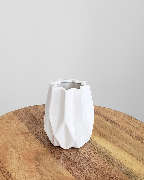 Geometric white vase for rent as a centerpiece