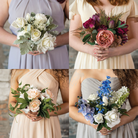 Four different sample bridesmaid bouquets