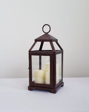 Bronze lantern with three LED candles inside