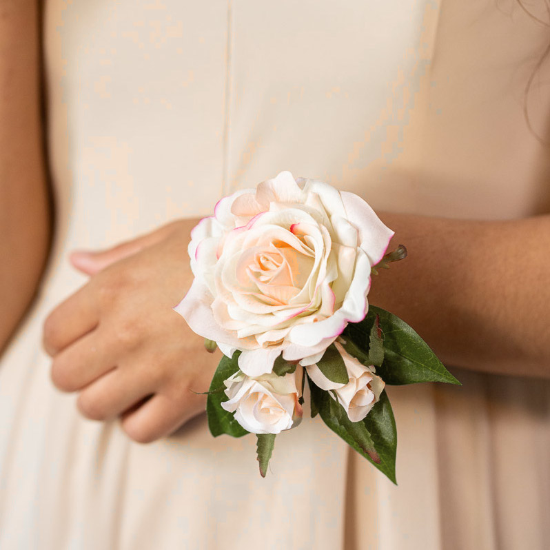 A pink rose corsage from the Kyoto Collection.